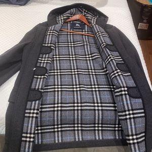 Burberry Grey Plaid Interior Winter Coat
